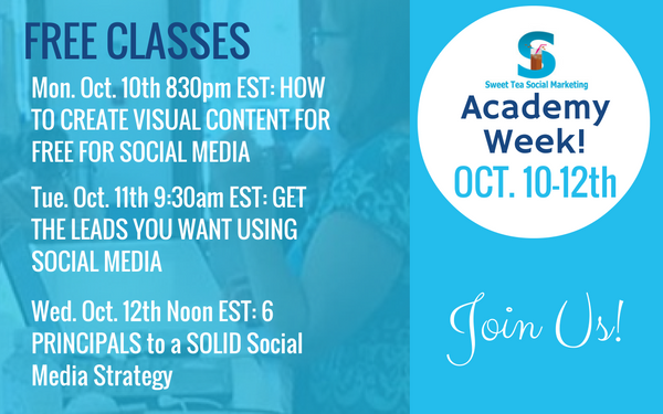 Academy Week October 10th-12th [Free Social Media Training]